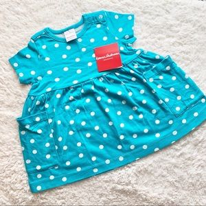Hanna Anderson Blue Polka Dot Dress w Pockets NWT